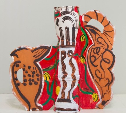 Betty Woodman, On the Way to Mexico, 2012, Glazed earthenware, epoxy resin, lacquer, paint, canvas, 34 x 35 x 9 inches, Courtesy of Salon 94, NY.