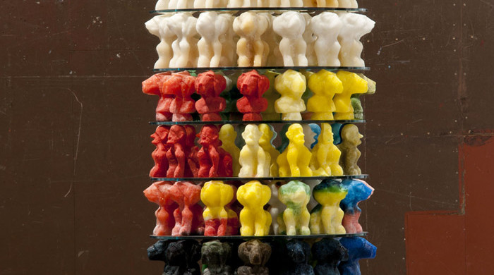 Dieter Roth, Zuckerturm (Sugar Tower) 1994/2013. Sugar casts, glass, wood. 175 1/4 x 37 3/4 x 37 3/4 in. Installation view Hauser & Wirth New York, 2013 Photo: Bjarni Grímsson. Courtesy of Dieter Roth Estate / Hauser & Wirth