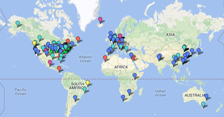 Here's a map of all the residencies available on Rate My Artist Residency.