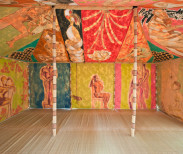 Francesco Clemente, Standing With Truth Tent, 2013 (interior view). Tempera on cotton and mixed media,118 1/8 x 236 1/4 x 157 1/4 inches (300 x 600 x 400 cm). Courtesy of the artist and Blain/Southern Gallery, Berlin