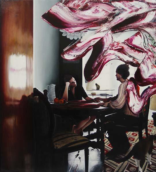 "Maxwell Stevens ""Summer Table (Sisters)"" 2013.  Oil on linen, 72 x 65 in / 183 x 165 cm."