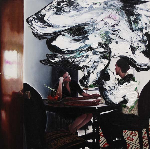 """Maxwell Stevens """"Summer Table 3"""" 2013.  Oil on linen, 20 x 20 in / 51 x 51 cm."""