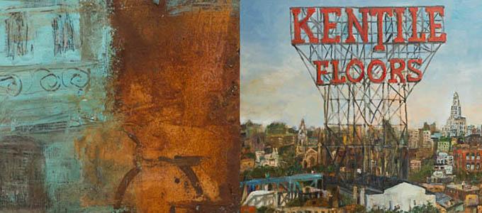 Image caption from left: 1. Jerzy Kubina, Zamosc, 2012. 16″x16″m mixed media, .2, Stanislaw Mlodozeniec, Brooklyn, Oil on canvas, 2016.