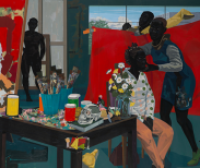 Kerry James Marshall (American, b. 1955). Untitled (Studio), 2014. The Metropolitan Museum of Art, New York, Purchase, The Jacques and Natasha Gelman Foundation Gift, Acquisitions Fund and The Metropolitan Museum of Art Multicultural Audience Development Initiative Gift, 2015 (2015.366) | Kerry James Marshall. De Style, 1993. Los Angeles County Museum of Art, purchased with funds provided by Ruth and Jacob Bloom