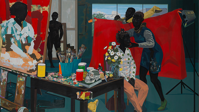 Kerry James Marshall (American, b. 1955). Untitled (Studio), 2014. The Metropolitan Museum of Art, New York, Purchase, The Jacques and Natasha Gelman Foundation Gift, Acquisitions Fund and The Metropolitan Museum of Art Multicultural Audience Development Initiative Gift, 2015 (2015.366)   Kerry James Marshall. De Style, 1993. Los Angeles County Museum of Art, purchased with funds provided by Ruth and Jacob Bloom