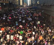 Protesters march in Manhattan during the Women's March on January 21, 2017. (Credit: Maureen McQuillan/Facebook Feed)