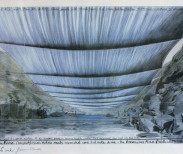 """A sketch of Christo's proposed artwork """"Over the River,"""" depicting a view from the Arkansas River. Credit Christo Over the River, Project for the Arkansas River, Colorado"""