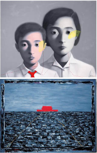 Zhang Xiaogang's subtle yet still obvious references