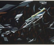"Zaha Hadid, The Peak Project, Hong Kong, China (Exterior perspective), 1991. Synthetic polymer on paper mounted on canvas, 51 x 72"" (129.5 x 182.9 cm). Credit: David Rockefeller, Jr. Fund. Copyright © 2017 Zaha Hadid. MoMA Collection."