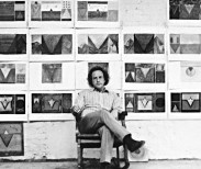 Photograph by Carol Diehl  Saltz circa 1976, in front of his drawings.