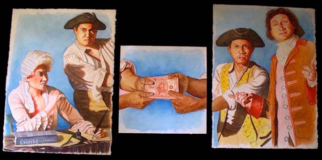 "Tug Of War, Triptych, 30"" x 70"", watercolor on Arches paper, 2016"