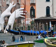 Lorenzo Quinn's installation, Support, at the Ca'Sagredo hotel, Venice. Photograph: Zsolt Czegledi/EPA